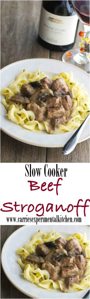 Tender beef cubes slowly simmered in a slow cooker with mushrooms, garlic, fresh herbs in a thick, red wine brown gravy.