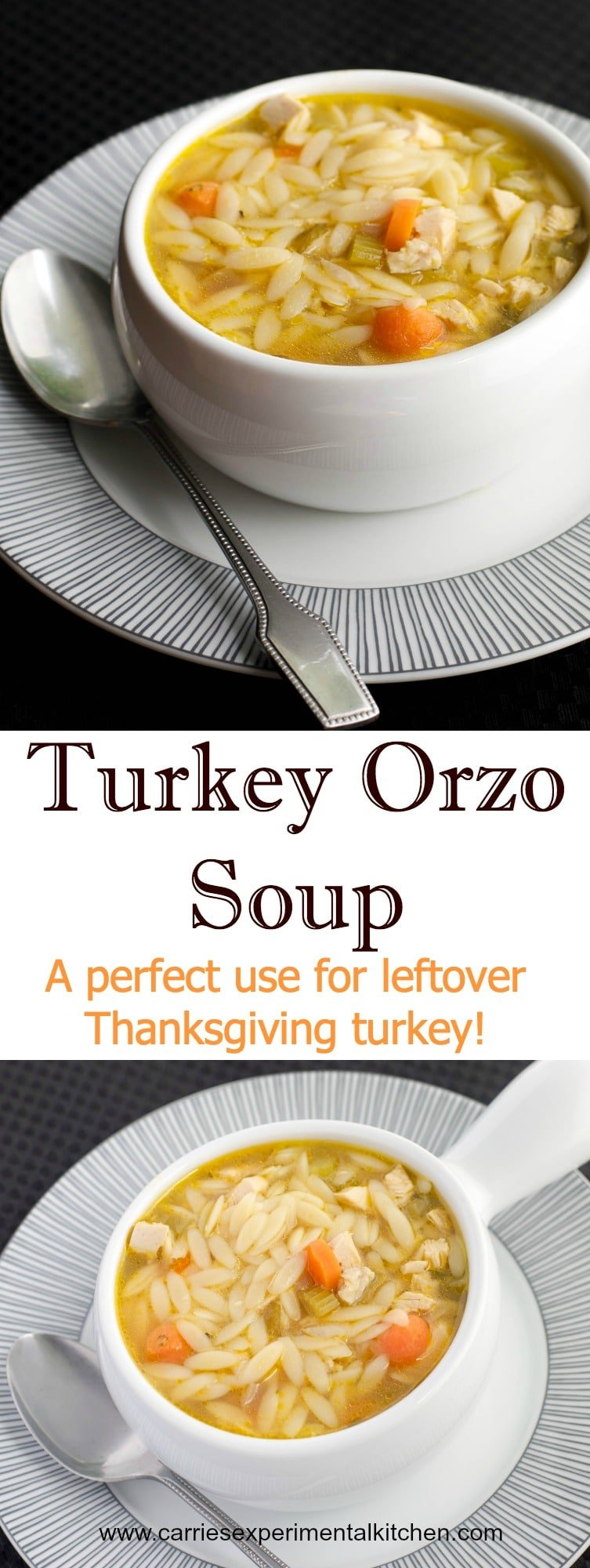 This Turkey Orzo Soup is a perfect use for leftover Thanksgiving turkey. Try substituting Sunday's leftover roasted chicken too!