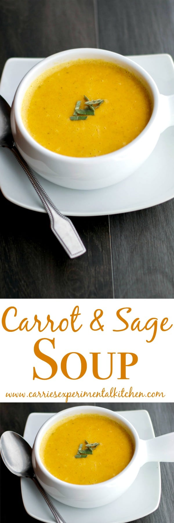 With just a few simple ingredients, you can enjoy this creamy Carrot & Sage Soup in about an hour. The color is perfect for holiday entertaining as well.