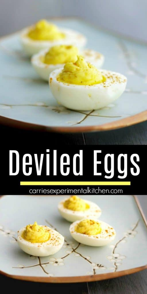 These spicy Deviled Eggs made with wasabi paste and horseradish are sure please those that love a little heat in their food.