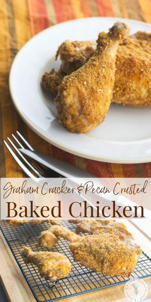 This Graham Cracker and Pecan Breaded Baked Chicken made with four ingredients are all you need to make a tasty, weeknight meal.