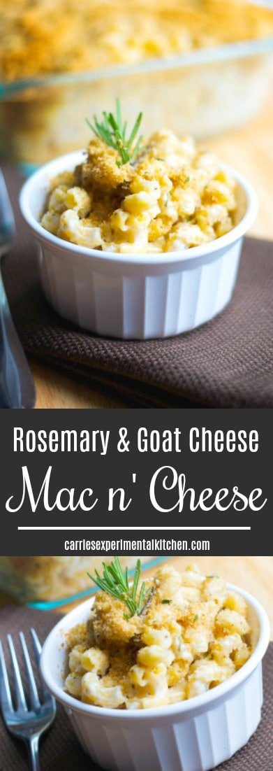 Macaroni and Cheese just took on a new level of maturity with this creamy version of Rosemary & Goat Cheese Mac n' Cheese. #pasta #macandcheese #goatcheese