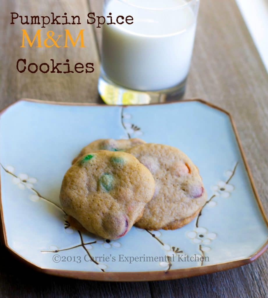 Soft and chewy Pumpkin Spice M&M Cookies go perfectly with a tall glass of milk for an afternoon snack or special Fall treat.