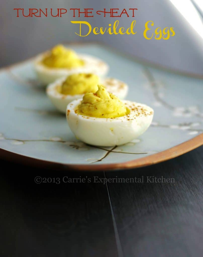Deviled Eggs made with wasabi and horseradish are sure please those that love heat in their food. Perfect for picnics or game day snacking!