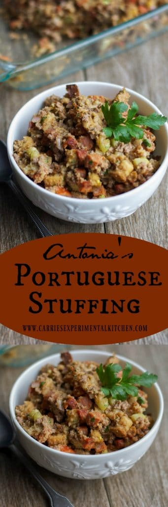 This Portuguese stuffing mixed with chorizo and ground beef is an old time family favorite.