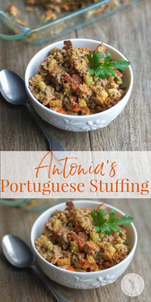 This family favorite recipe for Portuguese stuffing is made with chorizo, ground beef, vegetables and stuffing mix is always on our Thanksgiving table.