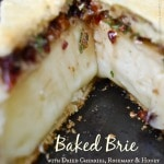 The combination of the cherries, pecans, and fresh rosemary give this baked Brie a sweet, woodsy flavor that has been a favorite appetizer in my family for years. #appetizer #cheese