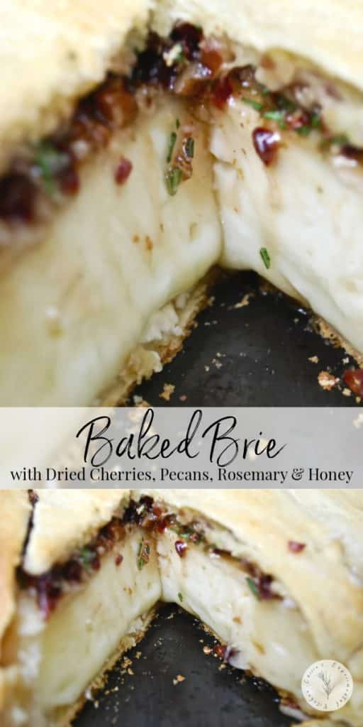 The combination of the cherries, pecans, and fresh rosemary give this baked Brie a sweet, woodsy flavor that has been a favorite appetizer in my family for years.