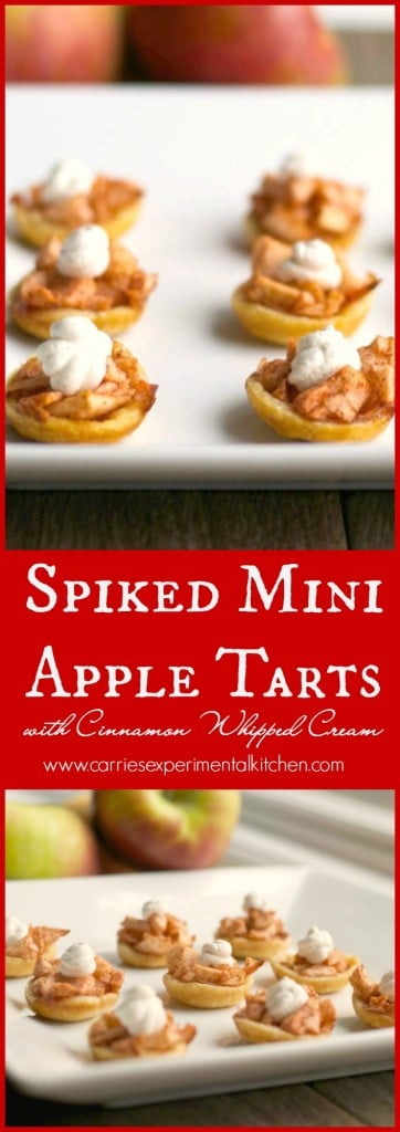 Spiked Mini Apple Tarts with Cinnamon Whipped Cream | Enjoy one of your favorite holiday desserts by turning them into smaller portions like these Spiked Mini Apple Tarts with Cinnamon Whipped Cream.