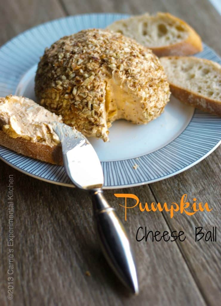 Entertain your guests this holiday season with this Pumpkin Cheese Ball made with cream cheese, pumpkin puree, maple syrup, and fresh thyme; then topped with chopped pecans.