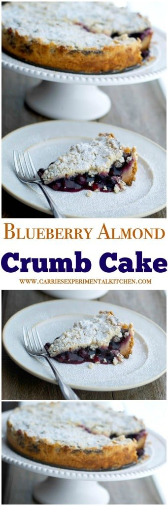 This Blueberry Almond Crumb Cake made with pie filling is so easy to make it's perfect for last minute entertaining. #dessert