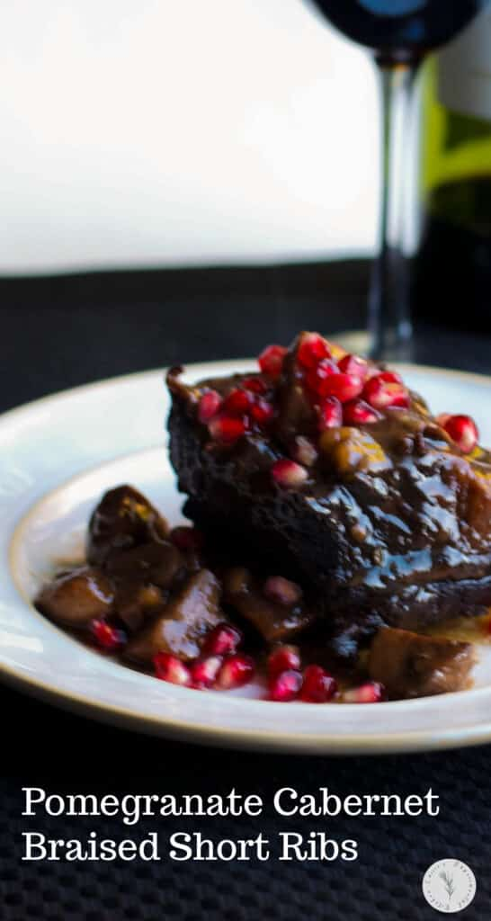 English cut beef short ribs slowly simmered in pomegranate juice, Cabernet wine and fresh rosemary is a tasty, comforting meal.
