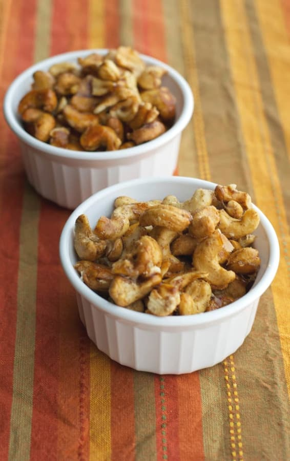 Whole cashews tossed with honey, ground cinnamon and salt; then roasted until golden brown make the perfect sweet and salty snack.