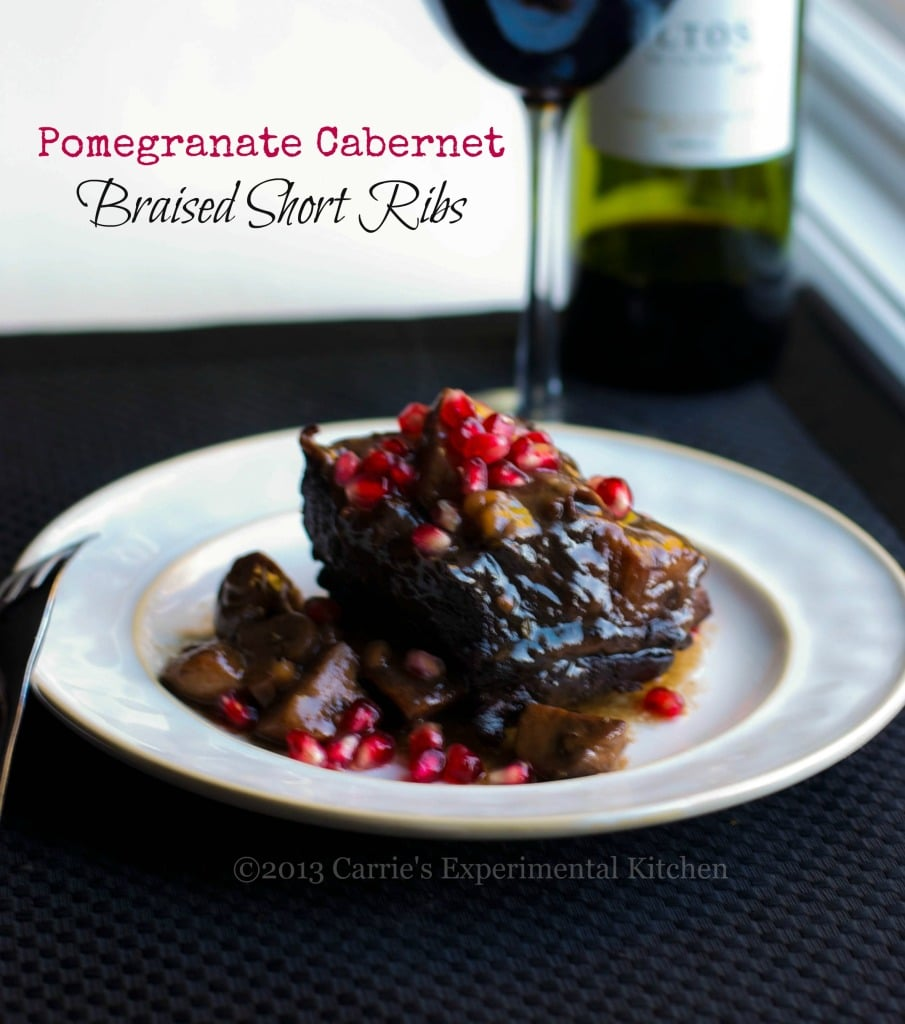 English cut beef short ribs slowly simmered in a pomegranate, Cabernet red wine sauce.