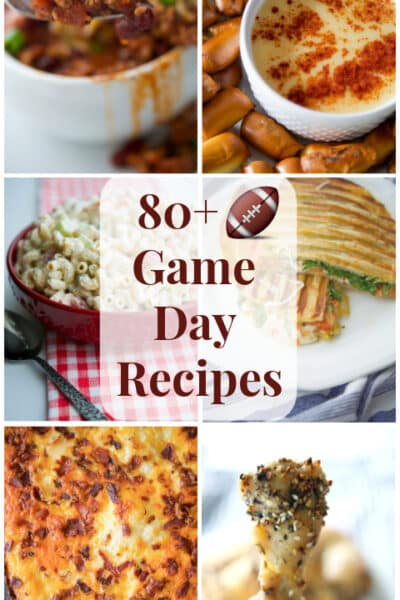 Here are over 80 Game Day Recipes Ideas to give you a little party inspiration from appetizers to desserts!