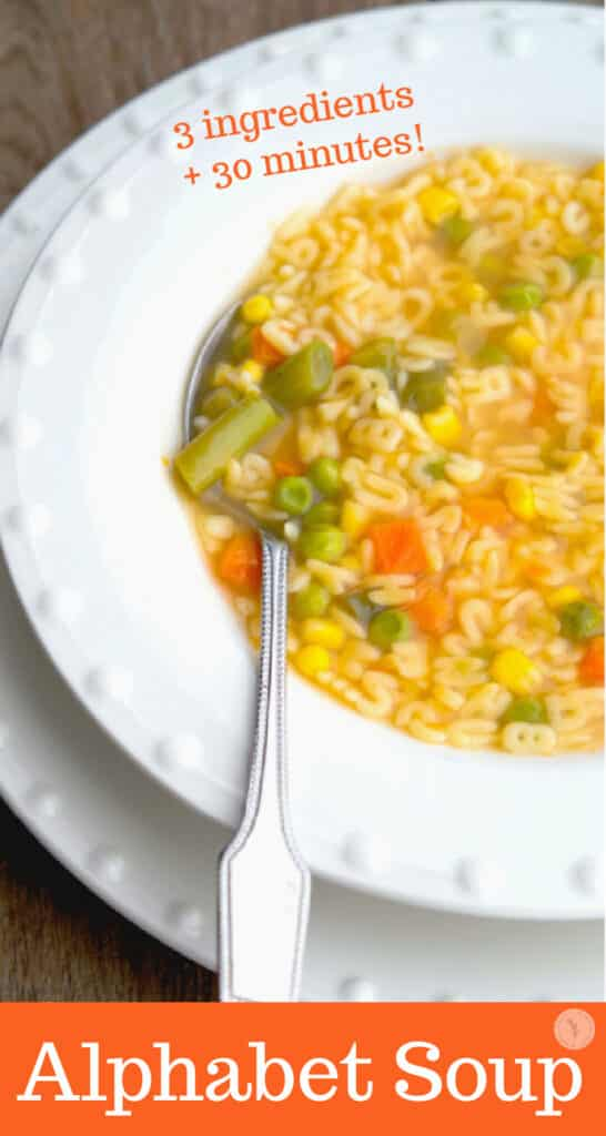 Alphabet Soup made with mixed vegetables, alphabet shaped pasta and organic vegetable broth. Perfect for lunch or dinner!