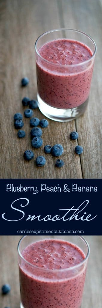 This Blueberry, Peach & Banana Smoothie is filling with the addition of flax and tastes great for breakfast or an afternoon snack. #smoothie #blueberries #banana #peach
