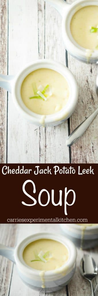 Creamy Cheddar Jack Potato Leek Soup made with Yukon Gold potatoes, leeks, and a combination of shredded Cheddar Jack cheeses is deliciously satisfying for lunch or dinner.  #soup #potatoes #potato #leeks #vegetarian