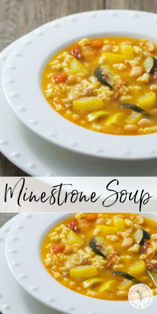 This hearty Minestrone Soup made with squash, tomatoes, pasta, garlic and Ditalini pasta is so filling, you can eat it for dinner.