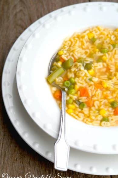 Organic Alphabet Soup made with mixed vegetables, alphabet shaped pasta and organic vegetable broth. Perfect for lunch or dinner!  #soup #organic