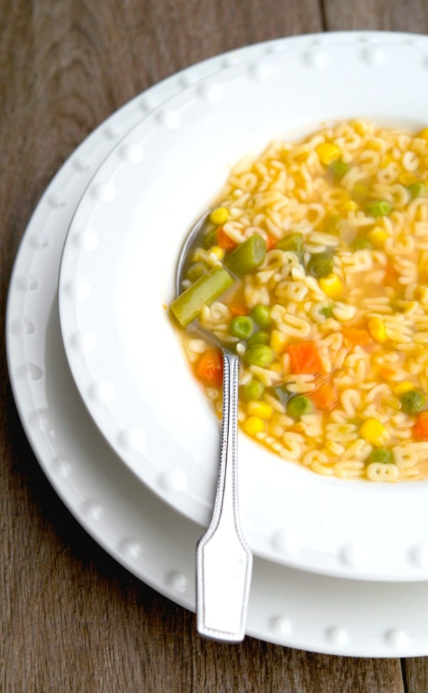 Organic Alphabet Soup made with mixed vegetables, alphabet shaped pasta and organic vegetable broth. Perfect for lunch or dinner!