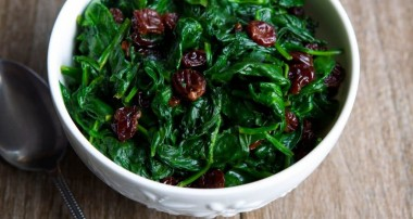 Sauteed Spinach with Dried Cherries