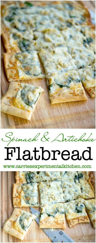 This Spinach & Artichoke Flatbread made with baby spinach, artichoke hearts and a lemony, cheese sauce is perfect for pizza night or game day snacking.