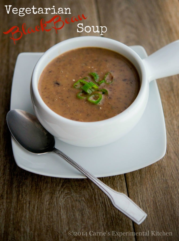 Vegetarian Black Bean Soup | CarriesExperimentalKitchen.com Eating beans in general are healthy for you and this Vegetarian Bean Soup is no exception which is high in fiber, iron and vitamins C and B6.