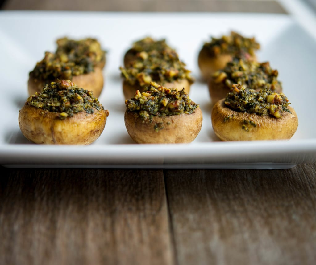 Basil Pecan Pesto Stuffed Mushrooms