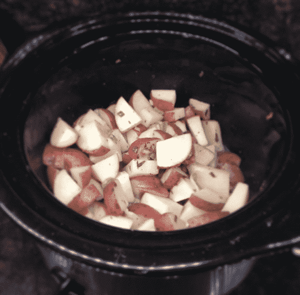 diced potatoes in crockpot