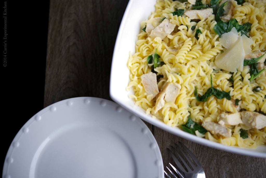 Gluten Free Pasta with Lemon Chicken and Spinach