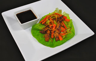 Grilled Teriyaki Chicken Lettuce Wraps with an Asian Dipping Sauce