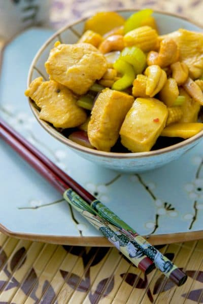 Cashew Chicken with Sesame Garlic Sauce made with boneless chicken breasts, cashews, and vegetables in a sesame garlic sauce is so delicious, you'll never order Chinese take out again.