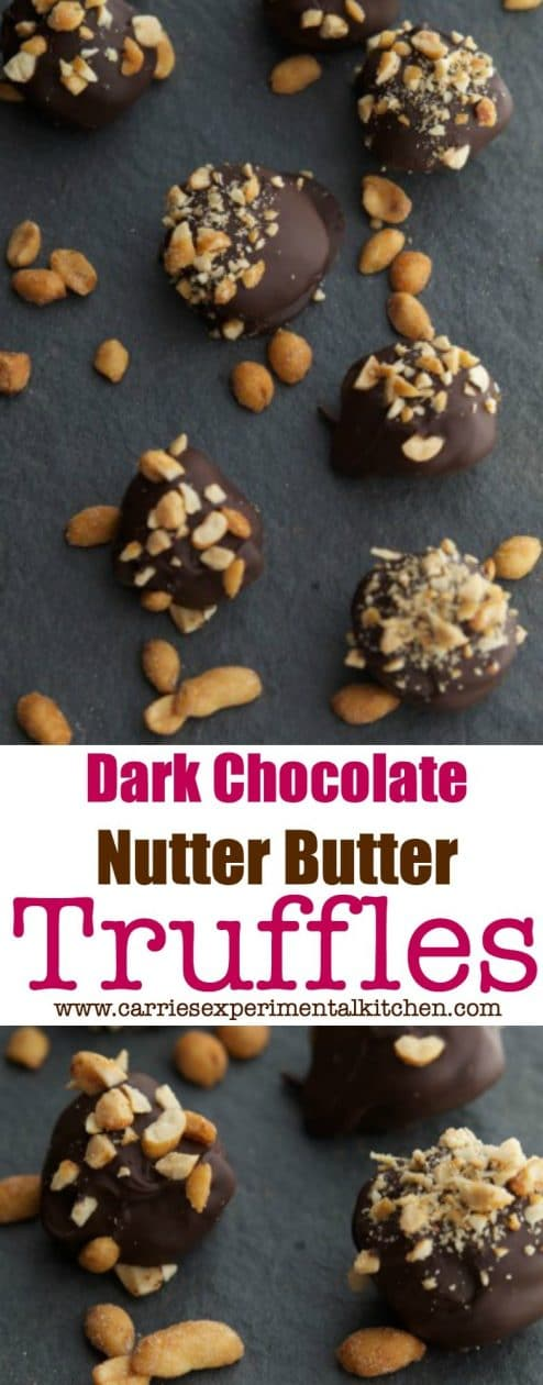 If you're looking for quick and easy peanut butter and chocolate dessert, these Dark Chocolate Nutter Butter Truffles are just the thing. #desserts #chocolate #peanutbutter