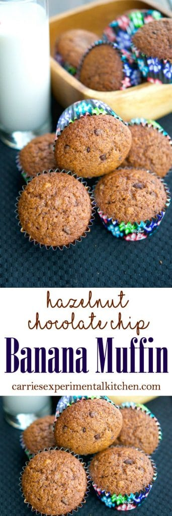 Utilize those ripe bananas by making these deliciously moist Hazelnut Chocolate Chip Banana Muffins. They're perfect for a quick on the go breakfast or afternoon snack.