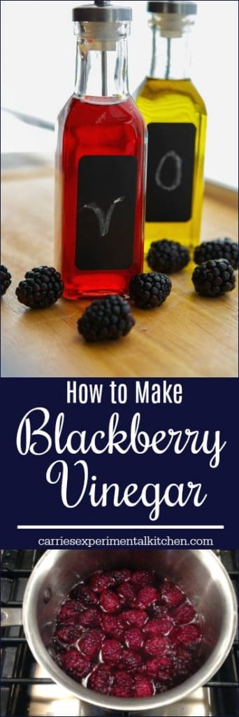 Making your own  fruit flavored vinegar, like this blackberry version, is easy and only requires a few simple ingredients.