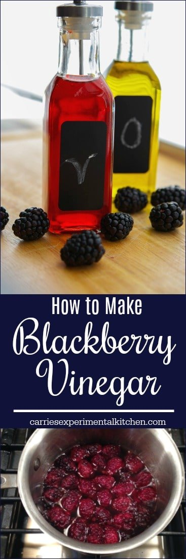 Making your own fruit flavored vinegar, like this blackberry version, is easy and only requires a few simple ingredients. There are so many flavor combinations to choose from. #vinegar #blackberries #salad #dressings