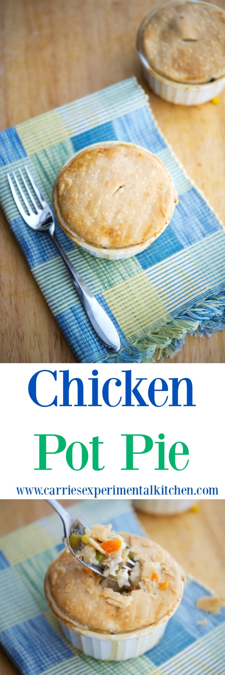 Turn leftover chicken or turkey into a new meal with this delicious Individual Chicken Pot Pie. #chicken #casserole #leftovers #turkey