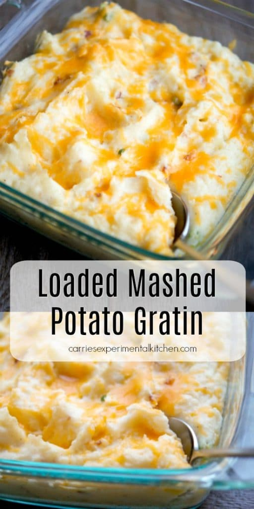 If you're looking for a tasty side dish to make for a crowd, this Loaded Mashed Potato Gratin is perfect. It's made with bacon, sour cream, and cheddar cheese, how can you go wrong?
