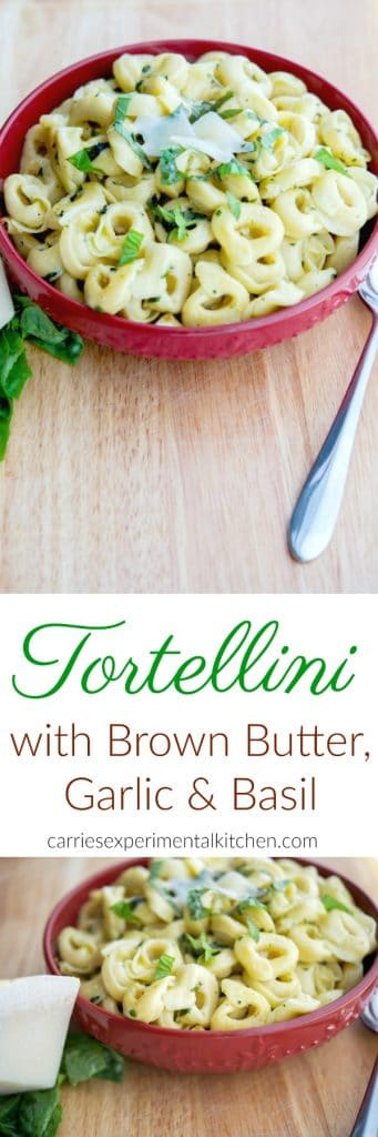 Brown butter adds a wonderful nutty flavor to many dishes like this simple tortellini dish with garlic and basil; which can be used as a main entree or side dish. #pasta #tortellini #sidedish
