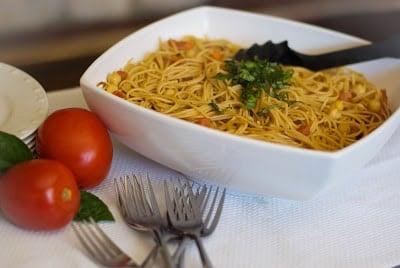 Whole Grain Spaghetti with Bruschetta & Chick Peas