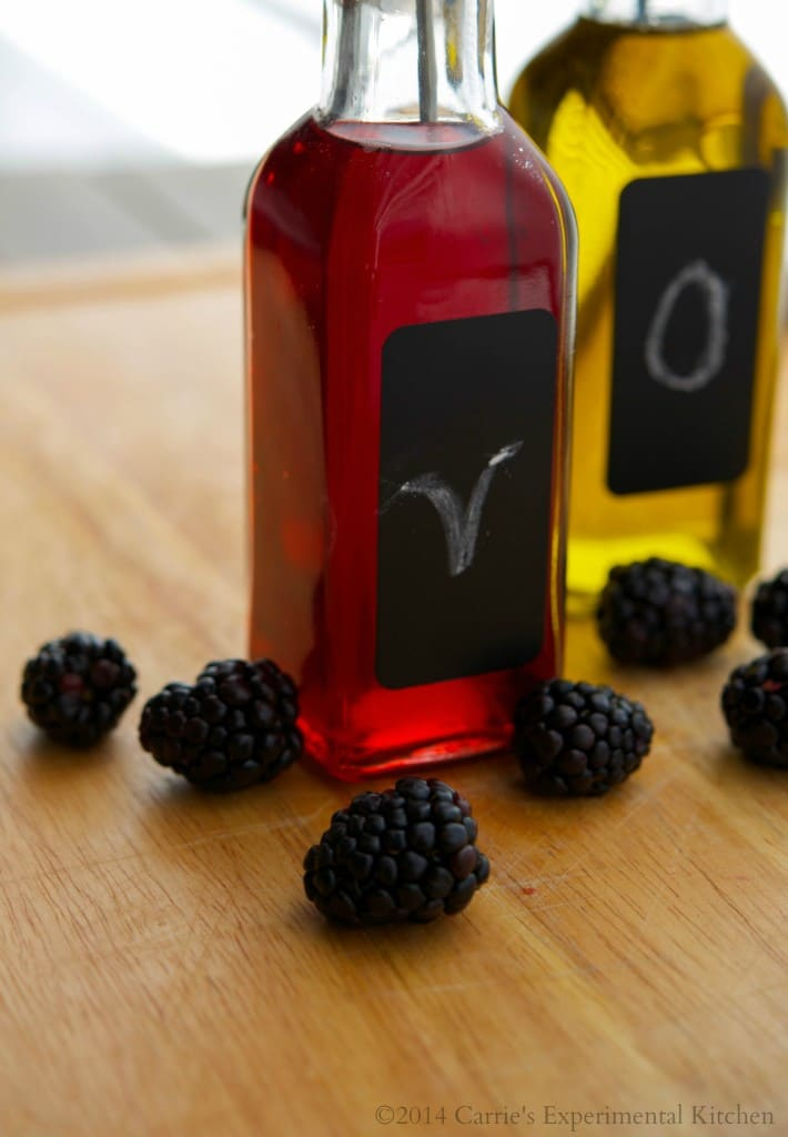 Making your own  fruit flavored vinegar, like this blackberry version, is easy and only requires a few simple ingredients. There are so many flavor combinations to choose from.