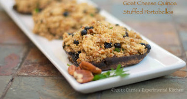 Blueberry, Pecan & Goat Cheese Quinoa Stuffed Portobello Mushroom Caps
