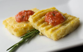 Grilled Polenta with Roasted Roma Tomato Coulis