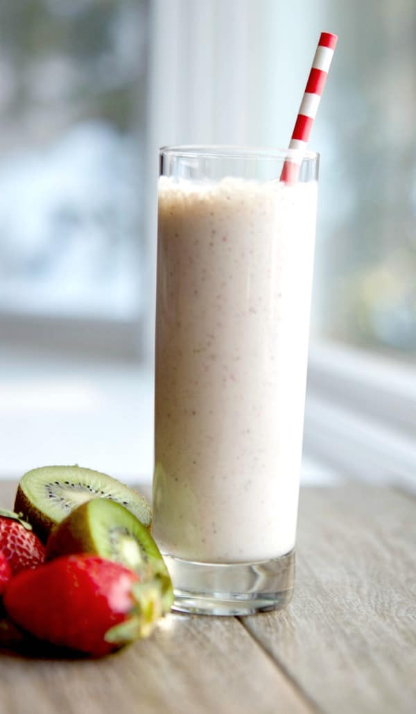 Four ingredients are all you need to make this refreshing Strawberry, Kiwi and Banana Smoothie. It's perfect for breakfast or an afternoon snack.