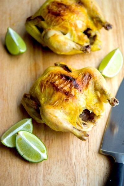 Cornish Hens marinated in a brine of fresh tarragon and lime juice are a healthy, tasty alternative to roasted chicken for those busy weeknights.