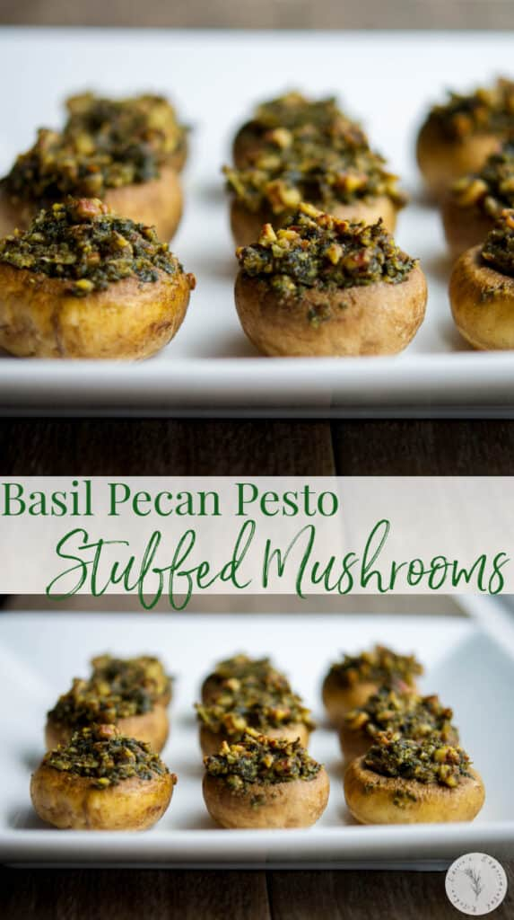Basil Pecan Pesto Stuffed Mushrooms make a nice addition to your holiday table or game day snacking. They're also gluten-free!