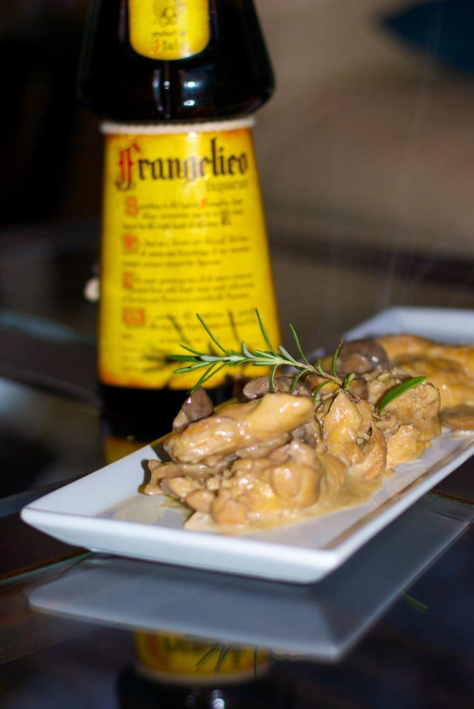 Braised Chicken in a Frangelico & Cremini Mushroom Cream Sauce