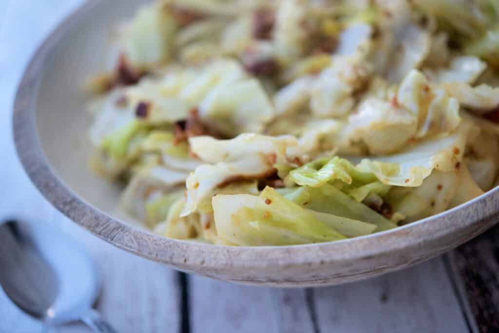 Cabbage with Bacon in a bowl