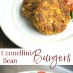 Italian Cannellini Bean Burgers made with oats, spinach, tomatoes, and mushrooms are a deliciously quick and easy weeknight meal.